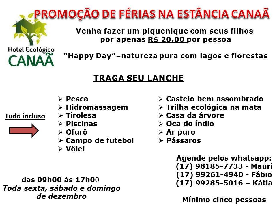 PROMOÇÃO DE FÉRIAS NA ESTÂNCIA CANAÃ Venha fazer um piquenique em FAMÍLIA ! I…
